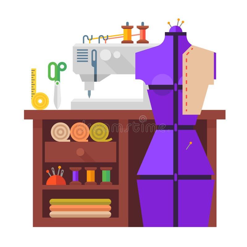 制表和缝合的时装模特、缝纫机、f0abric和针 库存例证