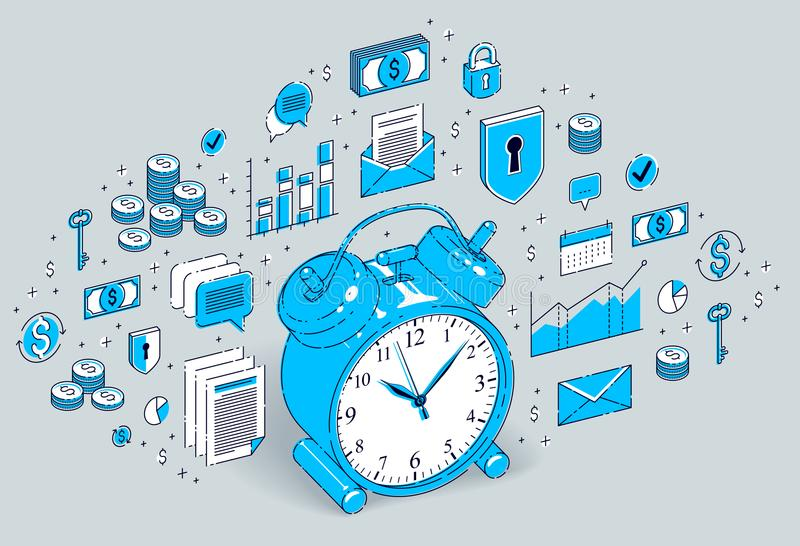 制表在白色背景隔绝的闹钟,时间安排, busine 皇族释放例证