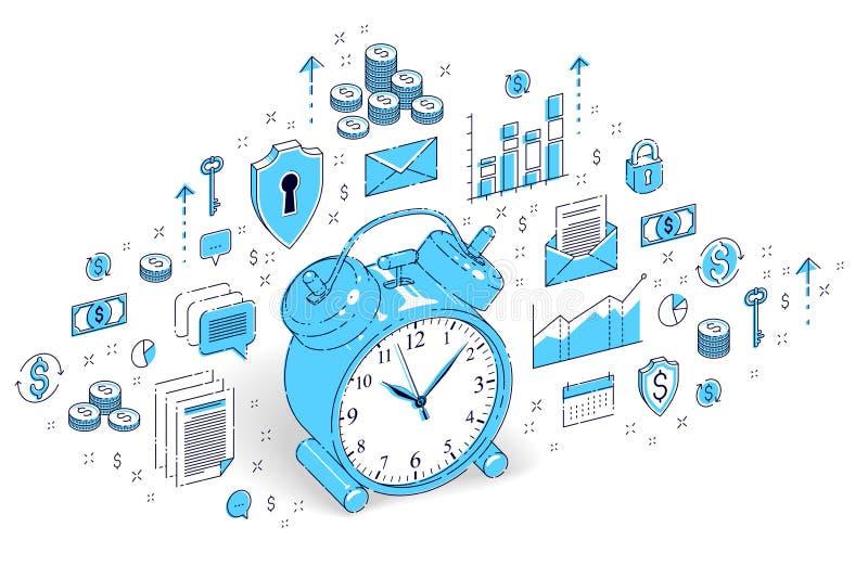 制表在白色背景隔绝的闹钟,时间安排, busine 库存例证