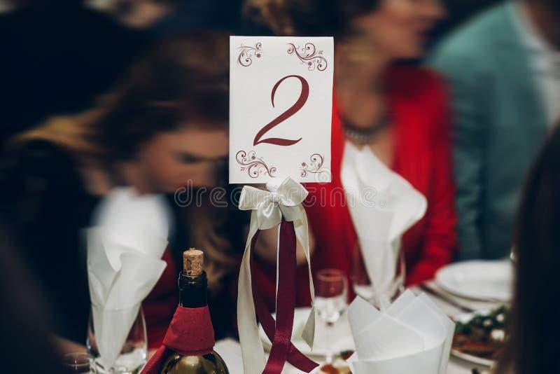 制表设置第二在结婚宴会,在resta的承办酒席 免版税库存照片
