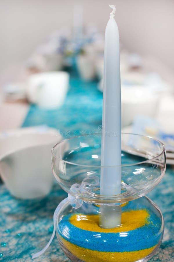 制表洗礼、生日或者婚礼的设置 免版税图库摄影