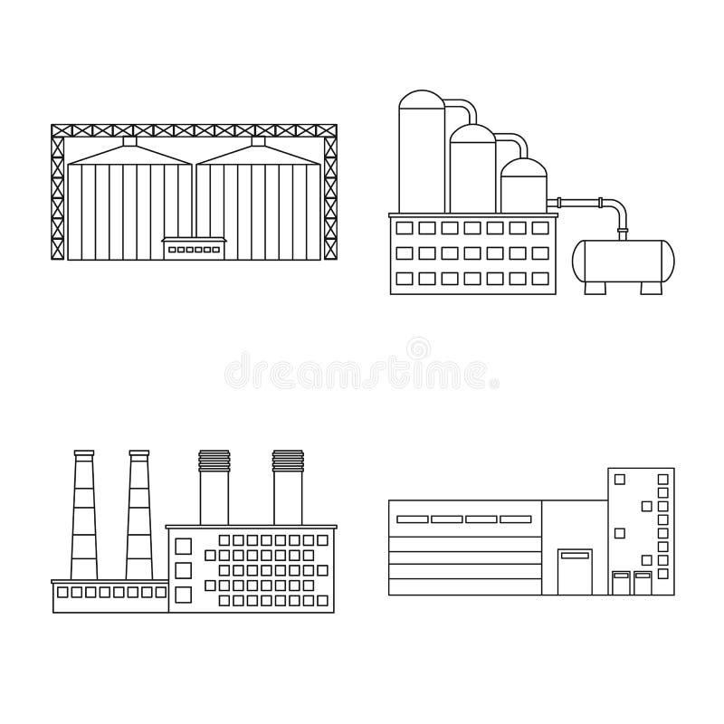 制造业和公司标志被隔绝的对象  设置制造业和结构股票的传染媒介象 向量例证