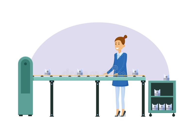 制造业工厂,女孩,在传送带旁边,排序金属制品 皇族释放例证