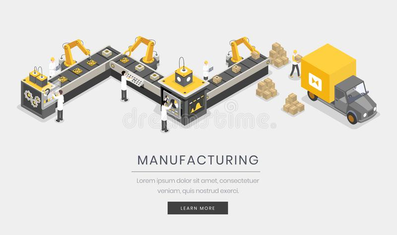 制造业,公司登陆的页模板 充分地自动化的,自治制造过程 皇族释放例证
