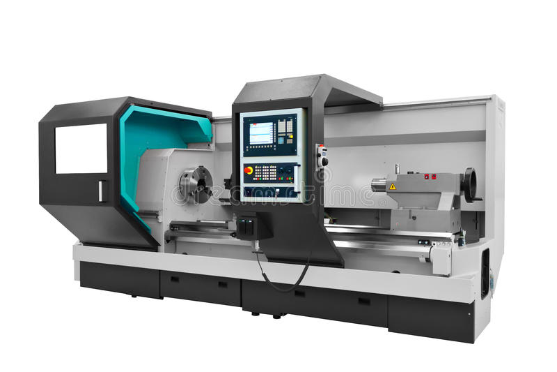 制造的专业车床机器 行业概念 可编程序的现代数字式车床 免版税库存照片