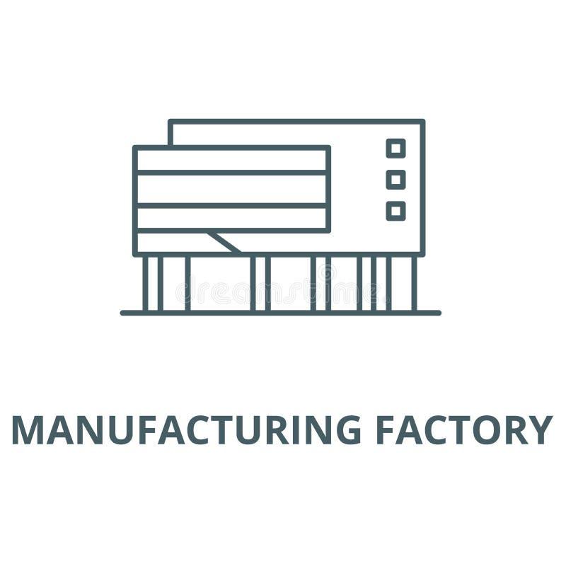 制造的工厂传染媒介线象,线性概念,概述标志,标志 向量例证