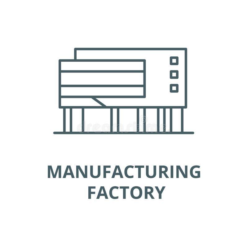 制造的工厂传染媒介线象,线性概念,概述标志,标志 皇族释放例证