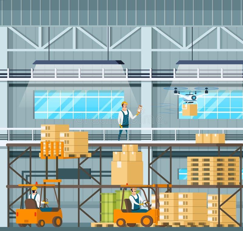 制造的现代仓库技术过程 库存例证