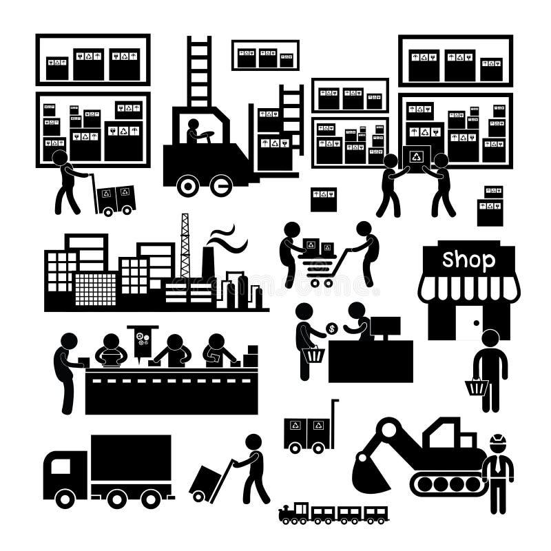 制造者和经销商象 向量例证