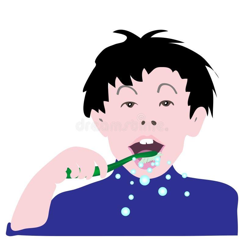 刷他的牙的孩子的例证 库存例证