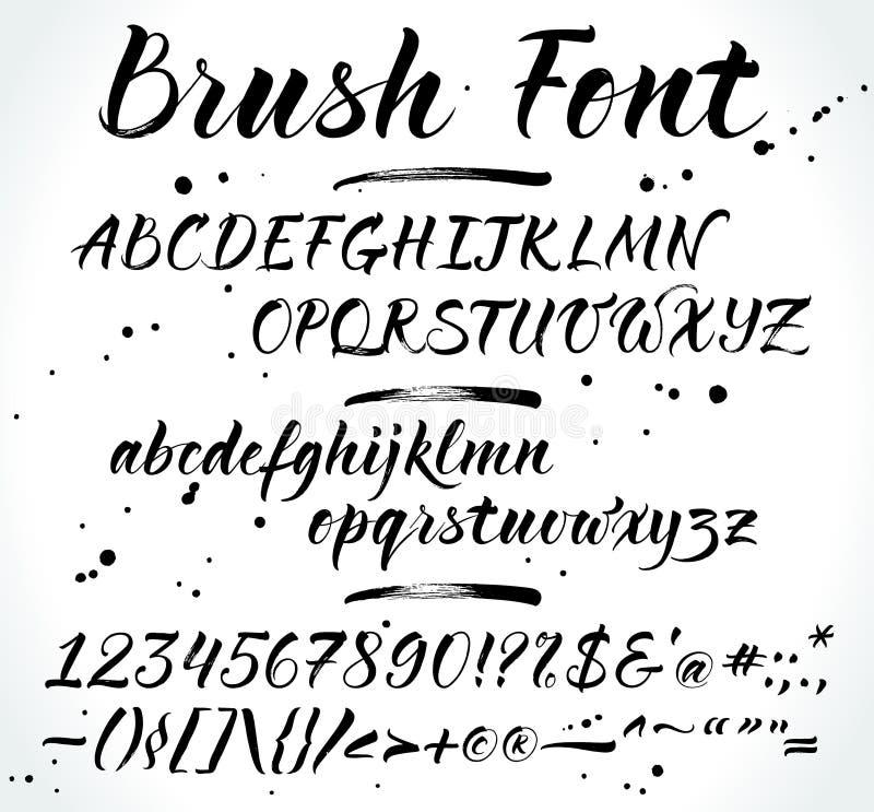 掠过字法与数字和标点的传染媒介字母表 现代书法,手写的信件 也core图片