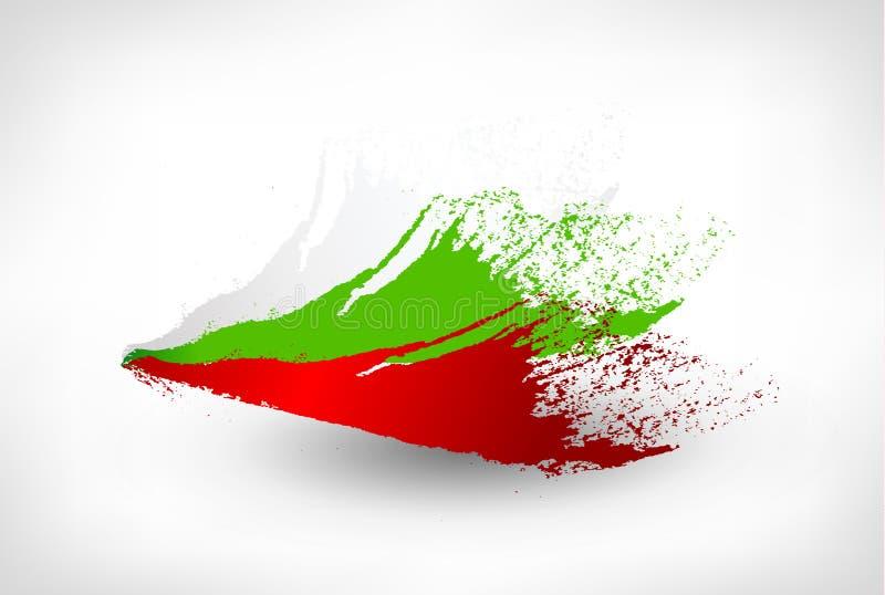 刷子保加利亚的被绘的旗子 向量例证