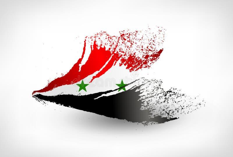 刷子叙利亚的被绘的旗子 向量例证
