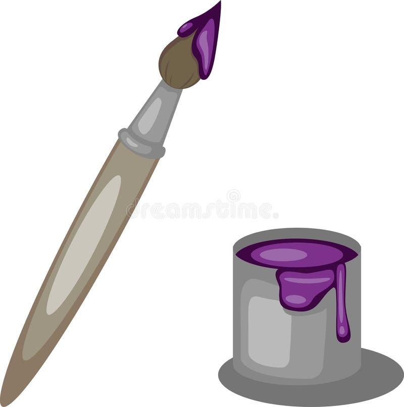刷子和五颜六色的油漆明亮的紫色颜色 向量例证
