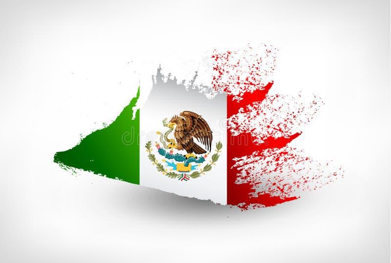 刷子墨西哥的被绘的旗子 皇族释放例证