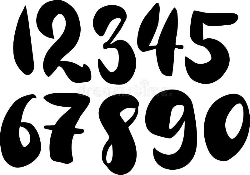 刷子字法数字 现代书法,手写的信件 也corel凹道例证向量 在空白背景的黑色 向量例证