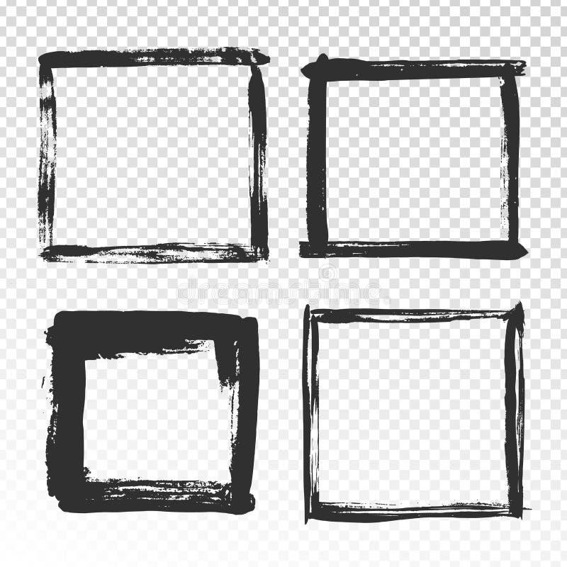 刷子抚摸框架 黑难看的东西正方形边界、画笔照片框架和手拉的古董渐近纹理 向量例证