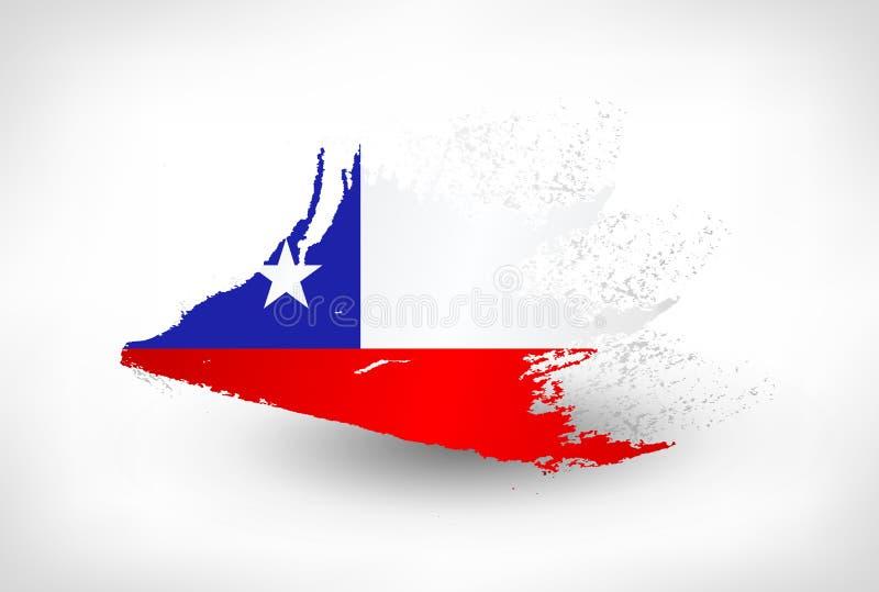 刷子智利的被绘的旗子 库存例证