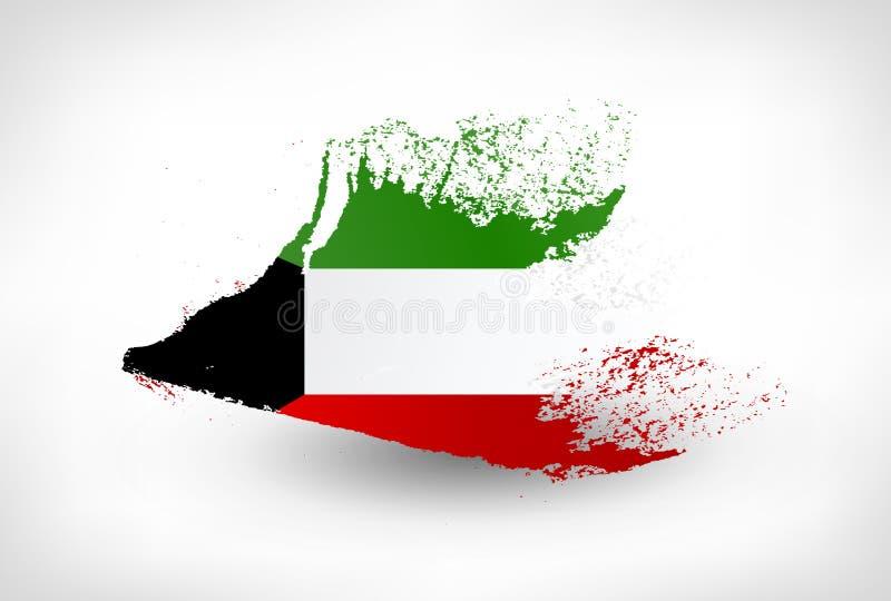 刷子科威特的被绘的旗子 向量例证