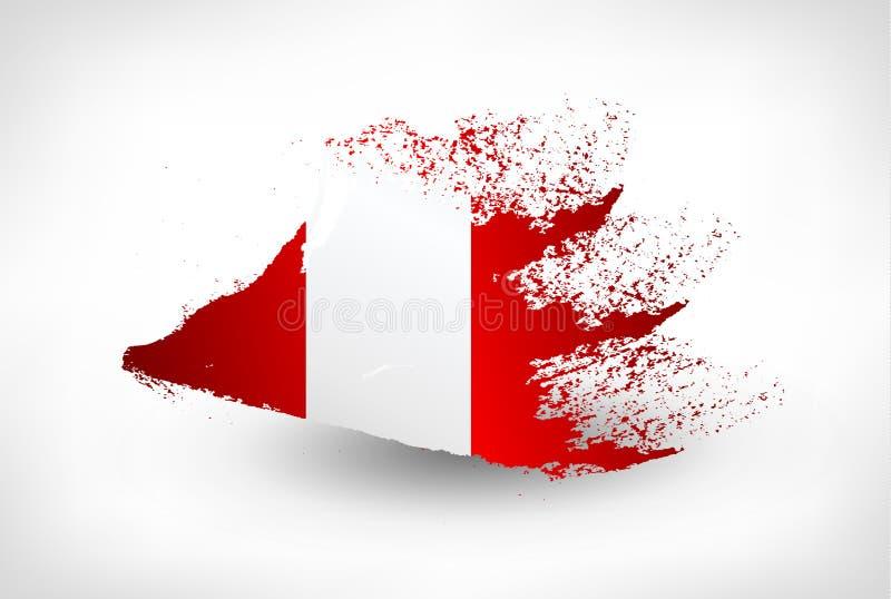 刷子秘鲁的被绘的旗子 向量例证