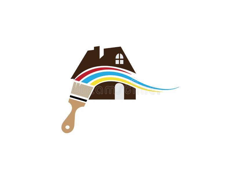 刷子绘画家或房子有multicolors的商标设计的 库存例证