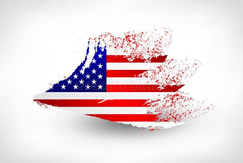 刷子美国的被绘的旗子 向量例证