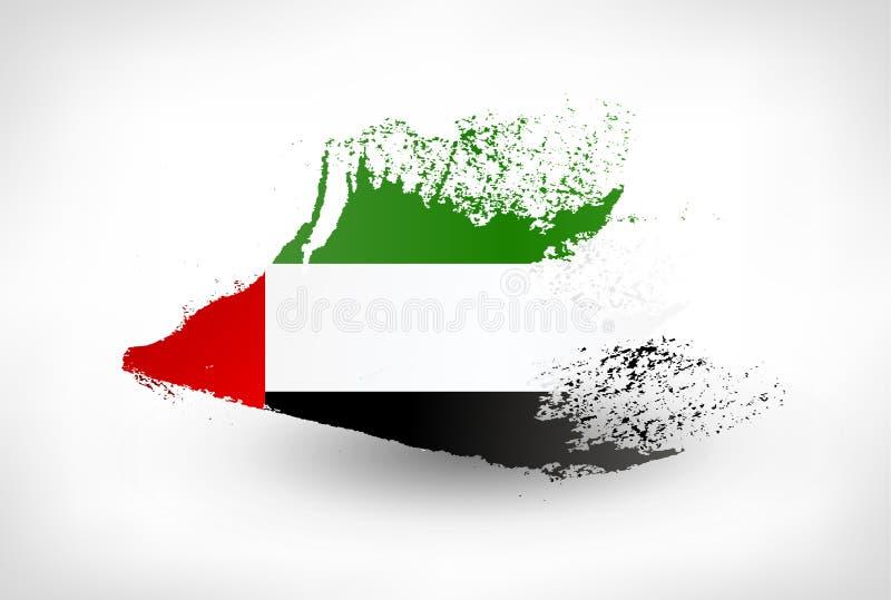刷子阿拉伯联合酋长国的被绘的旗子 皇族释放例证