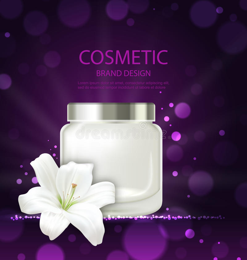 刷新与花百合,与奶油的空白的瓶包裹的化妆产品海报  向量例证