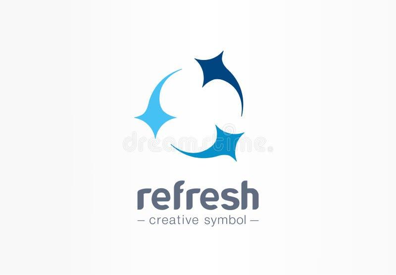 刷新圈子创造性的标志概念 干净的星,混合,小组三抽象企业商标 新洗涤,箭头转动 皇族释放例证