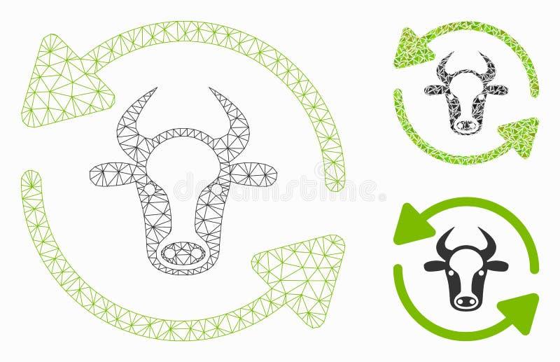 刷新母牛传染媒介滤网接线框模型和三角马赛克象 库存例证