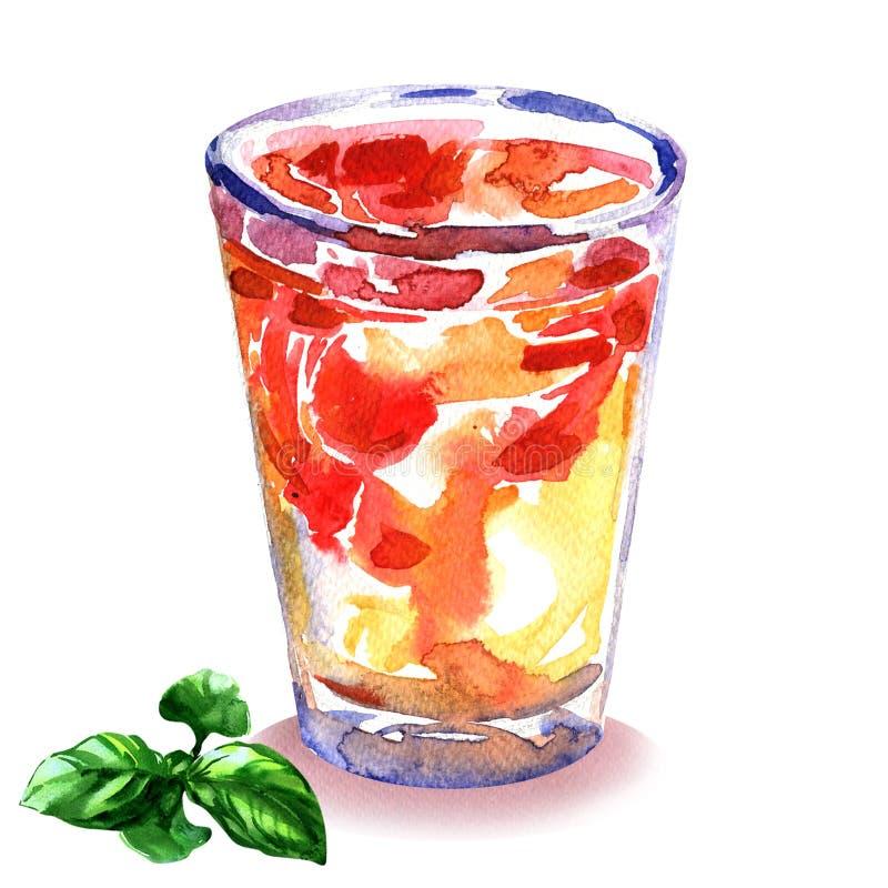 刷新的夏天饮料用草莓和薄菏在玻璃,冰茶用新鲜水果,被隔绝的,手拉的水彩 皇族释放例证