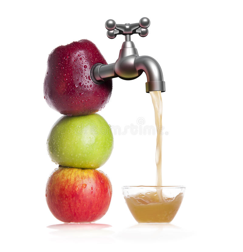 刷新的有机苹果汁 库存照片