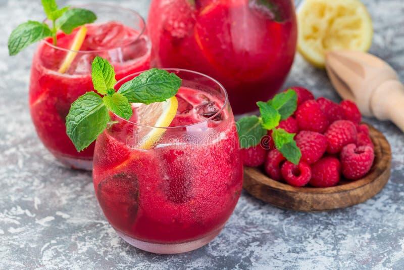 刷新的莓、柠檬和薄荷的柠檬水与苏打水在玻璃,水平 免版税库存照片