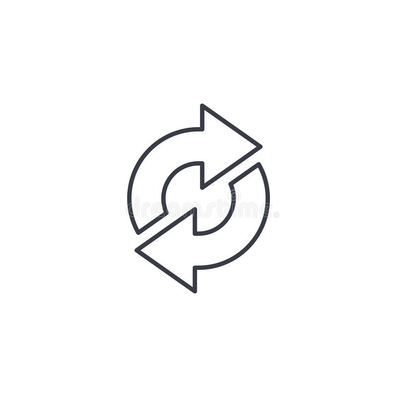 刷新箭头, sync,交换稀薄的线象 线性传染媒介标志 皇族释放例证