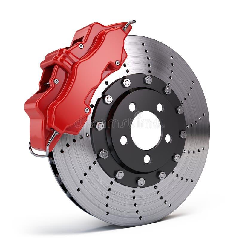 刹车与赛跑在白色的红色体育的圆盘轮尺 向量例证