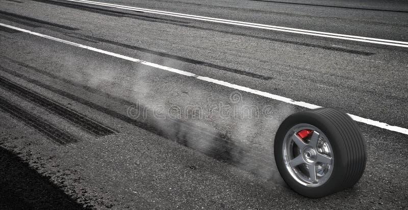 刹车的紧急高速公路烟轮子 向量例证