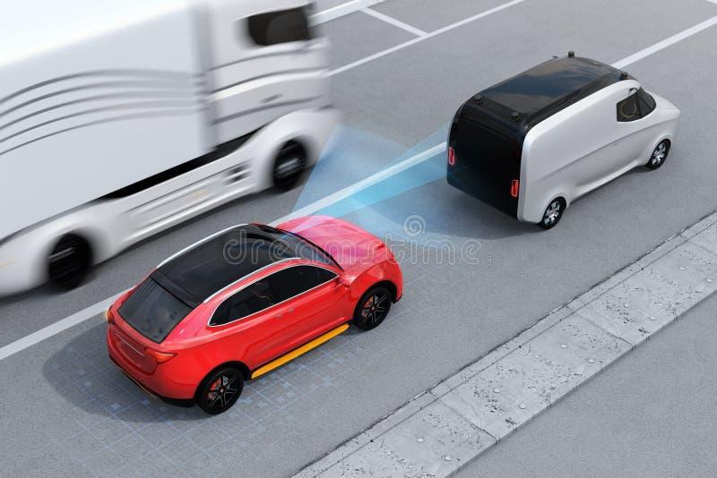 刹车红色SUV的紧急状态避免车祸 皇族释放例证