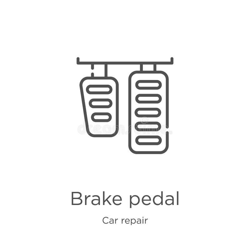 刹车踏板从汽车修理汇集的象传染媒介 稀薄的线刹车踏板概述象传染媒介例证 概述,稀薄的线 皇族释放例证
