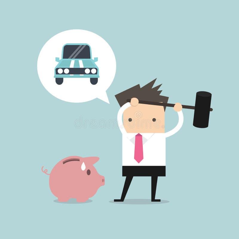刹车车的存钱罐的商人尝试 向量例证