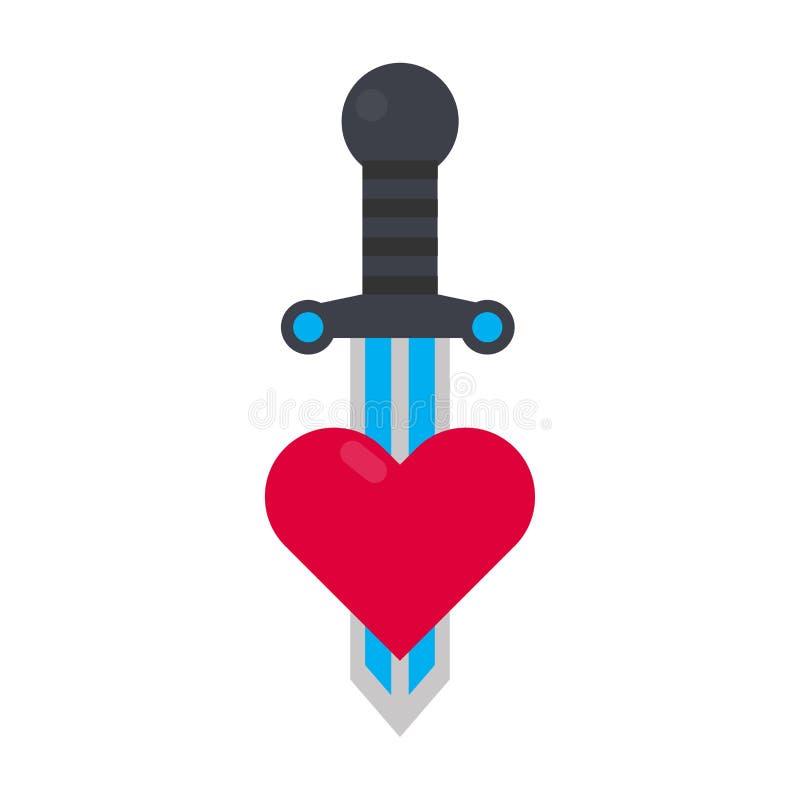 刺字与心脏和剑传染媒介例证的装饰元素 皇族释放例证