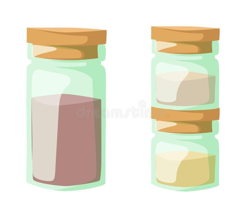 刺激与烹调香料和成份,胡椒,大蒜,辣椒粉,咖喱传染媒介例证 向量例证