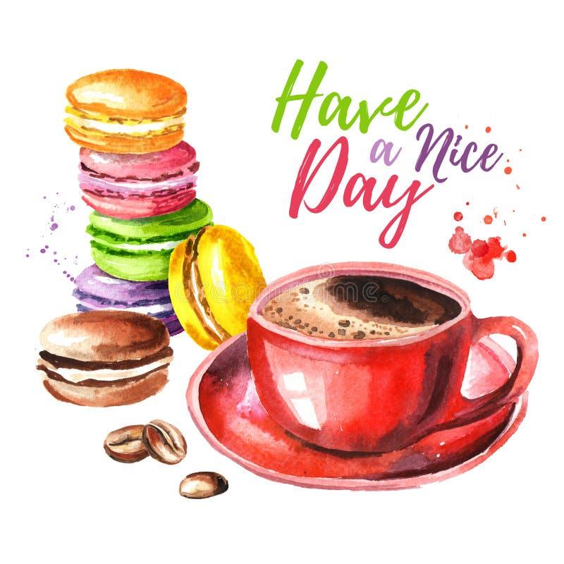 刺激卡片 传统法国五颜六色的蛋糕macaron或蛋白杏仁饼干,用早晨咖啡 水彩手拉的例证 皇族释放例证