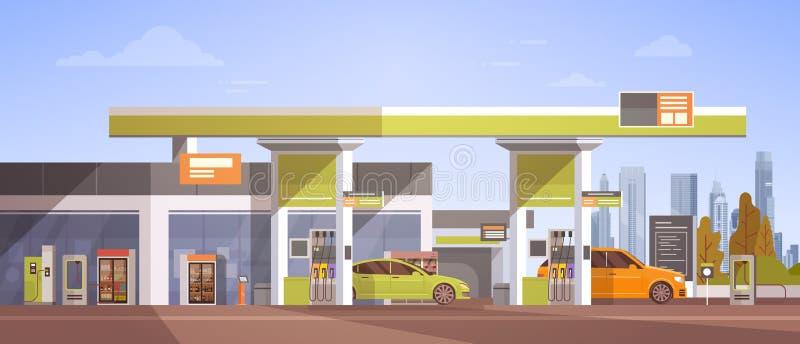 刺激在气体加油站的汽车 向量例证