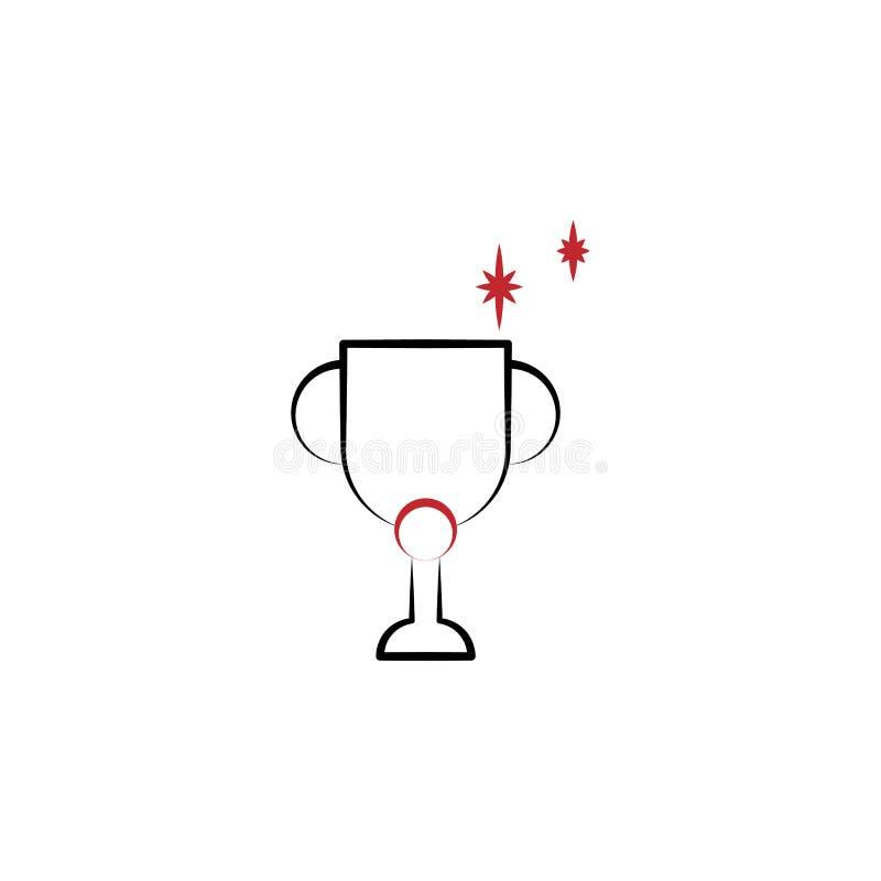 刺激,战利品,优胜者\'s杯子2种族分界线象 例证的简单的色的手拉的元素 战利品,优胜者\'s杯子 库存例证