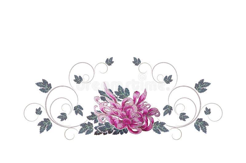 刺绣与叶子和curlicues的紫色粉红色翠菊 皇族释放例证