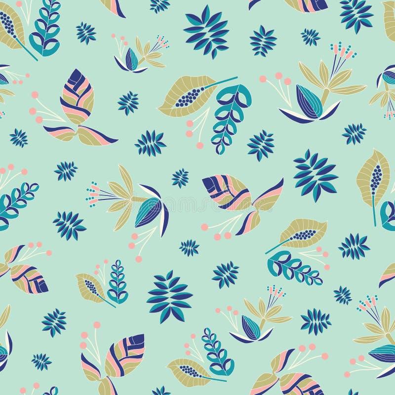 刺绣启发了与美丽的热带花的无缝的传染媒介样式 明亮的在绿色的传染媒介民间花饰 图库摄影