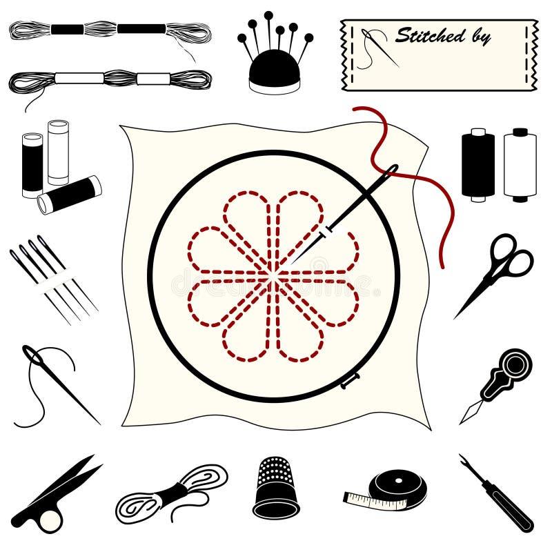 刺绣图标刺绣用品 皇族释放例证