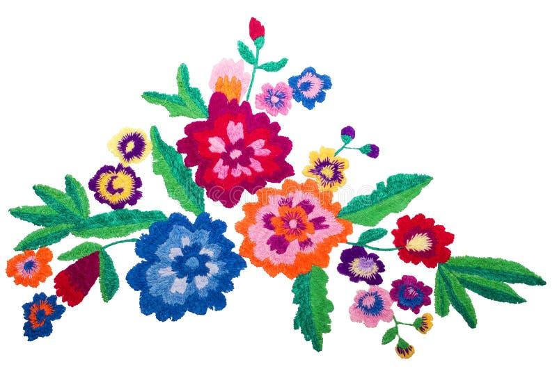 刺绣在白色背景隔绝的花束花 库存图片