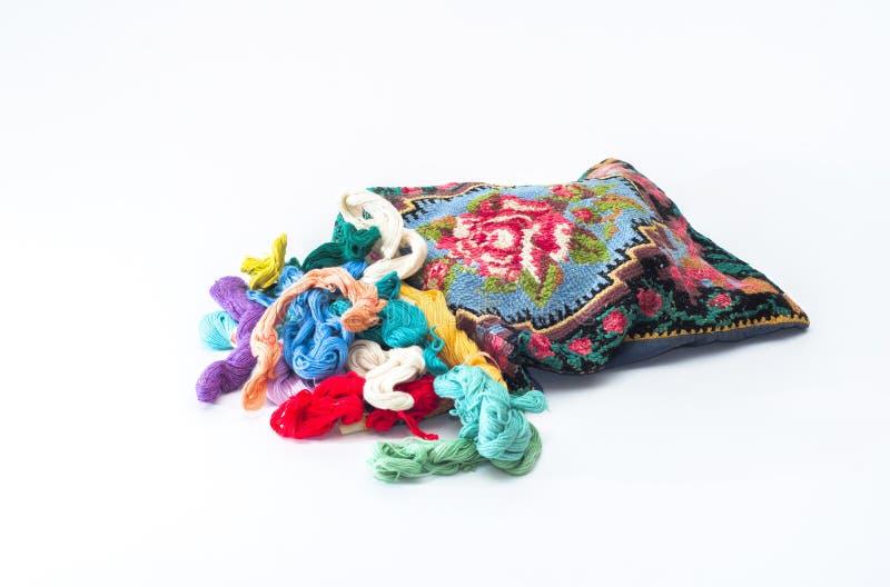 刺绣绣花丝绒的螺纹 图库摄影