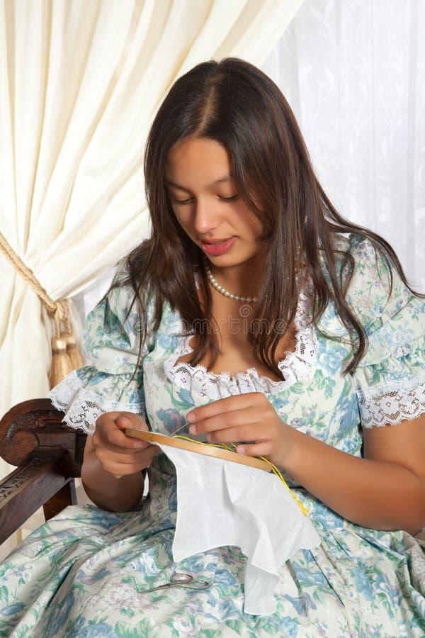 刺绣维多利亚女王时代的著名人物 图库摄影
